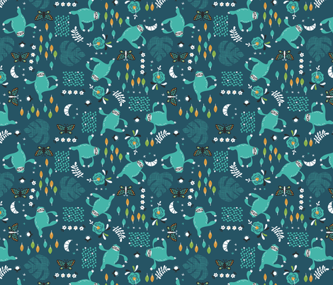 Sloth Samba Mini fabric by cynthiafrenette on Spoonflower - custom fabric