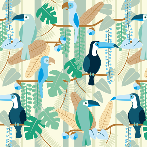 rainforest birds blue & brown fabric by heleenvanbuul on Spoonflower - custom fabric