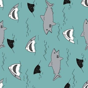 shark attack // railroad design boys kids shark fabric sharks design by andrea lauren