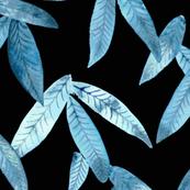 blue tropical leaves on black