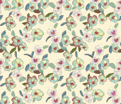 pansies and cream fabric by designed_by_debby on Spoonflower - custom fabric
