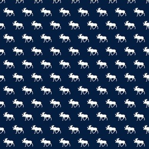 (micro print) moose on navy