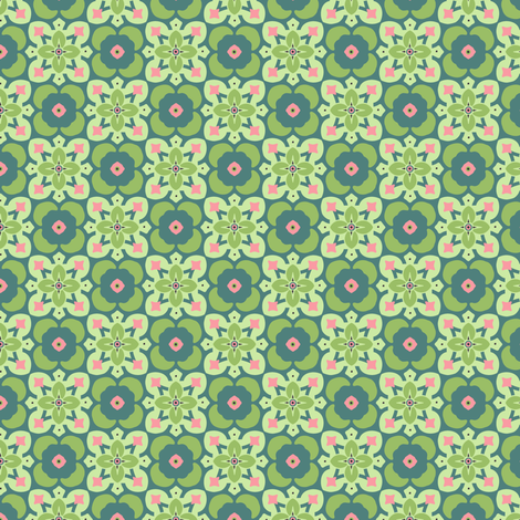 Cactus Tiles: Green fabric by sheri_mcculley on Spoonflower - custom fabric