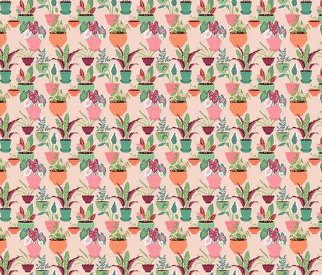 House Plants: Pink fabric by sheri_mcculley on Spoonflower - custom fabric