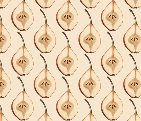 Shout Out to All the Pear on Pale Peach fabric by oinkoinkorchid on Spoonflower - custom fabric