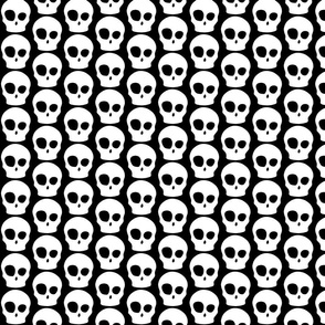 cute skull white on black