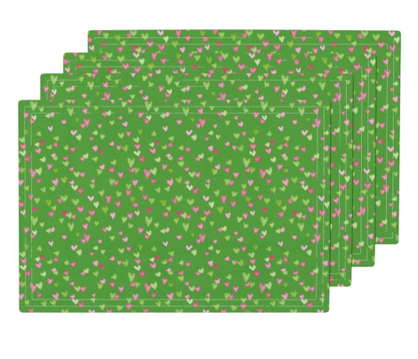 green and pink heart confetti