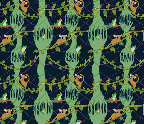 Rainforest Sugar Gliders and Tree Frogs on Vines fabric by carabaradesigns on Spoonflower - custom fabric