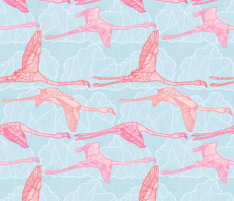 Flamingo Sky fabric by docious_designs_by_patricia_braune on Spoonflower - custom fabric