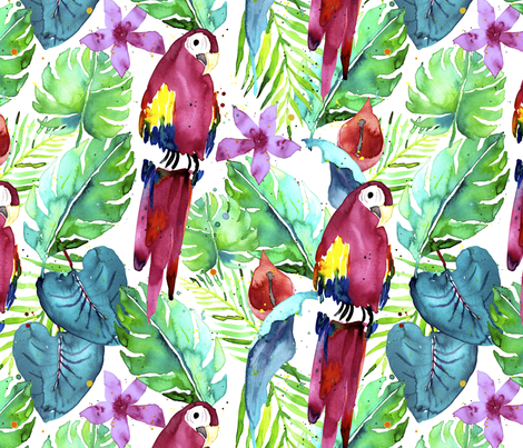 Rainforest Macaw fabric by karismithdesigns on Spoonflower - custom fabric