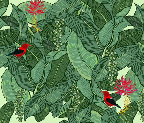 Hawaiian Rainforest I'iwi Bird Sighting fabric by honoluludesign on Spoonflower - custom fabric