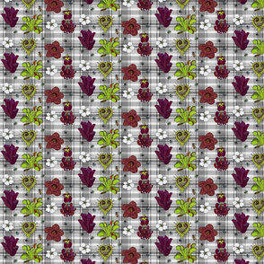Insectivorous plants on greyscale plaid
