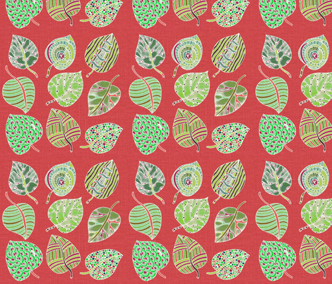 Painted leaves pink fabric by floramoon on Spoonflower - custom fabric