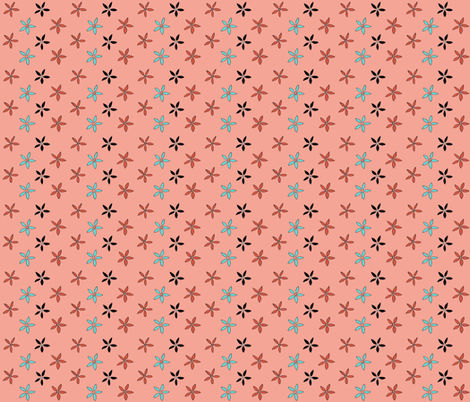 Flowers_from_Kirkcudbright__blue_on_coral fabric by amanda_jane_textiles on Spoonflower - custom fabric