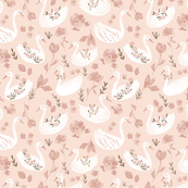 Lovely Swans- Small scale/ Baby pink swans/ Nuresery girls fabric/ Light pink animal swans/ flower swans fabric