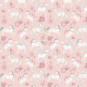Magic Unicorns - Small scale/ Magical Unicorns/ Pink Unicorn Fabric/ Baby nursery unicorn