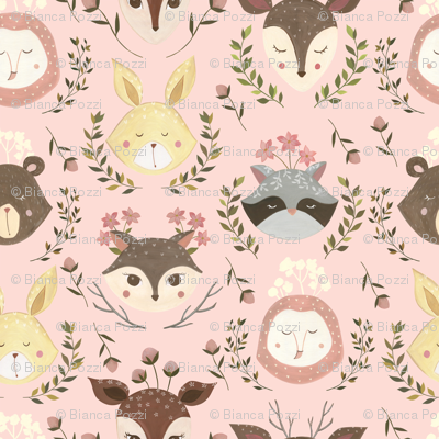 Woodland Faces- Small scale/ Woodland Faces/ Racoon Fox Bunny Deer/ Nursery woodland animals