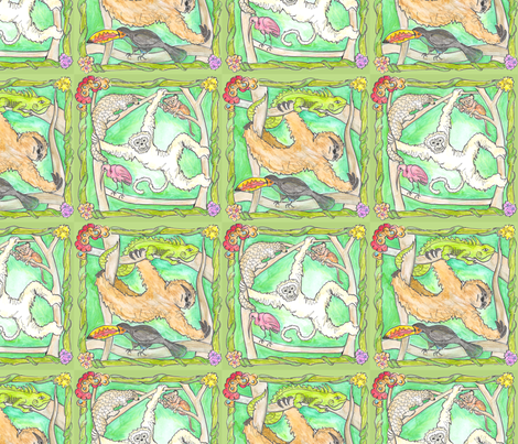 RAINFOREST - GIBBON AND SLOTH fabric by heretherebemonsters on Spoonflower - custom fabric