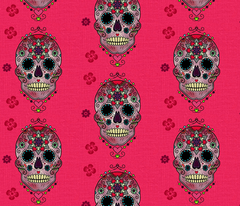 Sugar Skull Pink fabric by floramoon on Spoonflower - custom fabric