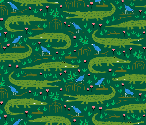 Amazon rainforest crocodile and blue bird fabric by heleen_vd_thillart on Spoonflower - custom fabric