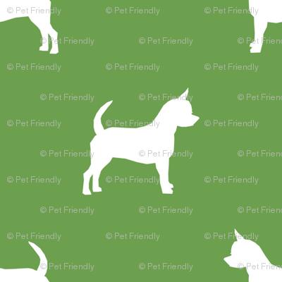 chihuahua silhouette fabric - dog fabrics - dogs design - asparagus green