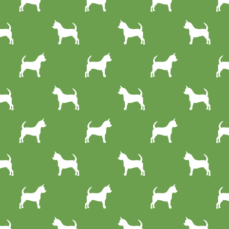 chihuahua silhouette fabric - dog fabrics - dogs design - asparagus green fabric by petfriendly on Spoonflower - custom fabric