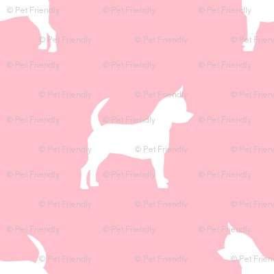chihuahua silhouette fabric - dog fabrics - dogs design - blossom pink