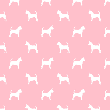 chihuahua silhouette fabric - dog fabrics - dogs design - blossom pink fabric by petfriendly on Spoonflower - custom fabric