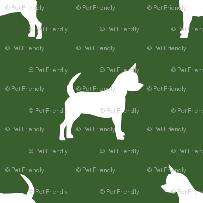 chihuahua silhouette fabric - dog fabrics - dogs design - garden green