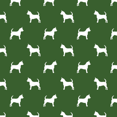 chihuahua silhouette fabric - dog fabrics - dogs design - garden green fabric by petfriendly on Spoonflower - custom fabric