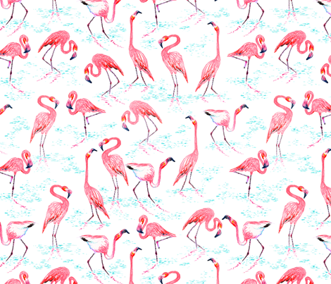 Flamingoes fabric by jadegordon on Spoonflower - custom fabric