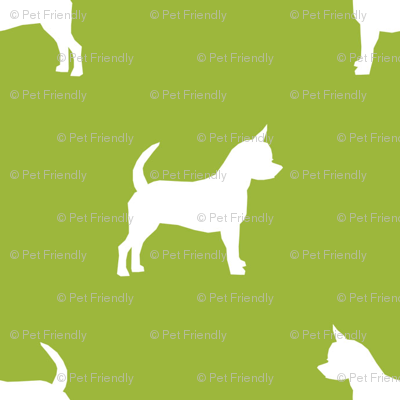 chihuahua silhouette fabric - dog fabrics - dogs design - lime