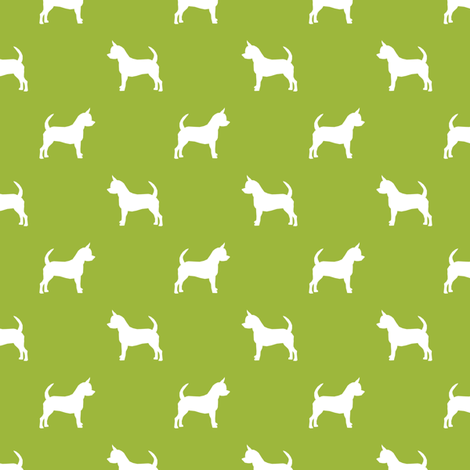 chihuahua silhouette fabric - dog fabrics - dogs design - lime fabric by petfriendly on Spoonflower - custom fabric