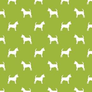 chihuahua silhouette fabric - dog fabrics - dogs design - lime