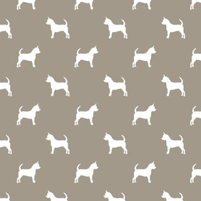 chihuahua silhouette fabric - dog fabrics - dogs design - medium brown