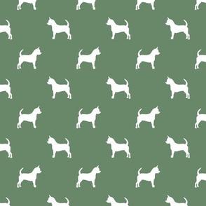 chihuahua silhouette fabric - dog fabrics - dogs design - medium green