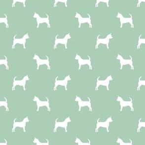 chihuahua silhouette fabric - dog fabrics - dogs design - mint green