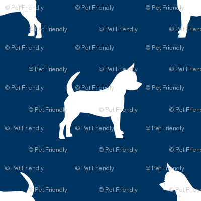 chihuahua silhouette fabric - dog fabrics - dogs design - navy