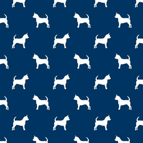chihuahua silhouette fabric - dog fabrics - dogs design - navy fabric by petfriendly on Spoonflower - custom fabric