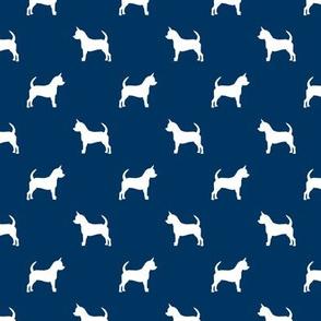 chihuahua silhouette fabric - dog fabrics - dogs design - navy