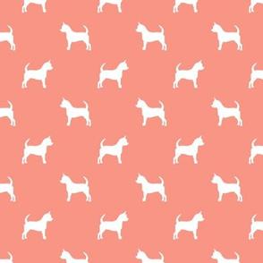 chihuahua silhouette fabric - dog fabrics - dogs design - peach