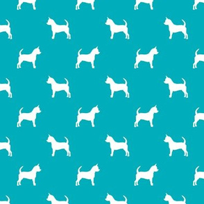 chihuahua silhouette fabric - dog fabrics - dogs design - peacock