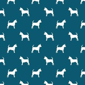 chihuahua silhouette fabric - dog fabrics - dogs design - sapphire