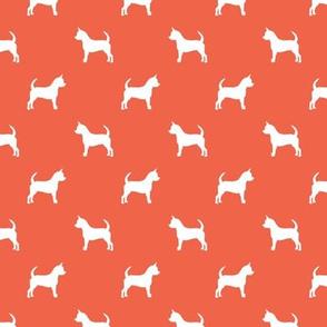 chihuahua silhouette fabric - dog fabrics - dogs design - scarlet