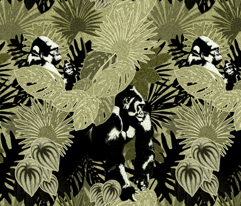 Gorillas In The Rain Forest fabric by lilithdeanu on Spoonflower - custom fabric