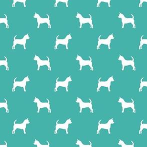 chihuahua silhouette fabric - dog fabrics - dogs design - turquoise