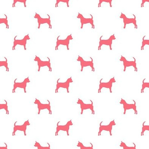 chihuahua silhouette fabric - dog fabrics - dogs design - brink pink and white