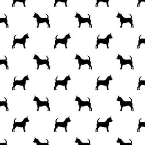 chihuahua silhouette fabric - dog fabrics - dogs design - white and black