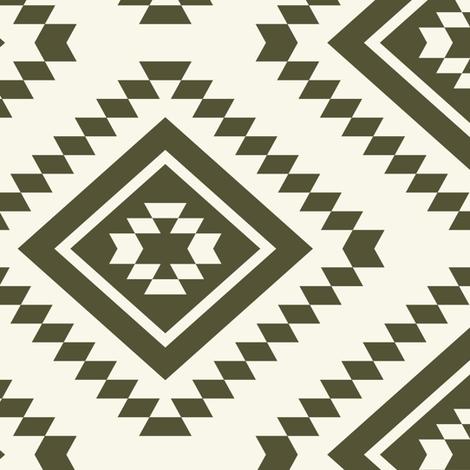 Aztec - Dk Olive,  Ivory fabric by fernlesliestudio on Spoonflower - custom fabric