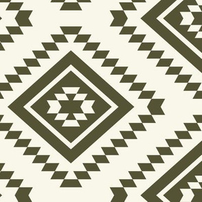 Aztec - Dk Olive,  Ivory